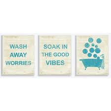 Stupell Industries 'Wash Away Soak <b>Vibes</b> Bathtub' <b>3 Piece</b> Textual ...