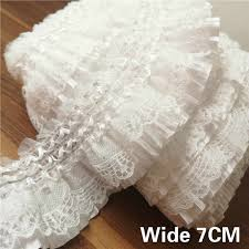 <b>3CM Wide</b> Tulle White Organza <b>Pleated</b> Dress Guipure Cord Lace ...