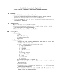 high school english   lesson plansemi detailed lesson plan in english  preparation and evaluation of instructional materials in