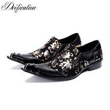 genuine leather men metal toe lace up shoes black dragon formal snakeskin print cow zapatos hombre vestir
