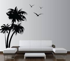 palm tree wall stickers: palm trees vinyl wall decal with seagulls