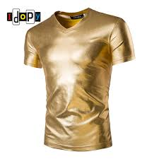 <b>Mens Trend Night Club</b> Coated Metallic Gold Silver T Shirts Stylish ...