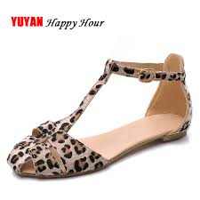 Leopard Print Flat Heel <b>Women's</b> Sandals <b>2019 Summer Women</b> ...