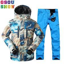 GSOU SNOW <b>Brand Ski Suit Men Ski Jacket</b> Pants Snowboard Sets ...