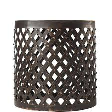 patio stool: w hammered lattice patio stool in bronze