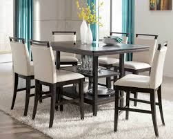 nailing height dining room sets with turquoise color curtains feat white shag rug and height black attractive high dining sets