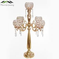 <b>10PCS</b>/<b>LOT Metal</b> Gold Candle Holders 73cm 5 Arms With Crystals ...