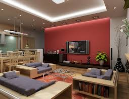 Red Wall Living Room Decorating Living Room Decorating Cheerful Living Room Decoration With Cozy