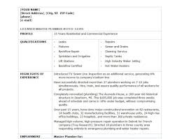 how to make a resume for a plumber plumber resume resume format pdf