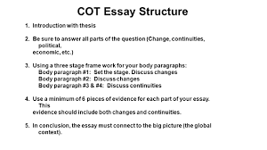 the continuity and change over time essay the big picture the cot essay structure 1 introduction thesis 2