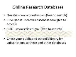 Online Research Databases Questia     www questia com  free to search  EBSCOhost