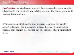 Image result for propaganda card stacking   device