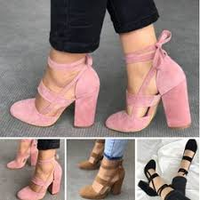 Women's Sexy Heels 5 Colors Suede Straps Thick High ... - Vova
