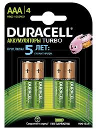 Аккумуляторная <b>батарейка AAA</b>/HR03 4 шт DURACELL 4246581 ...