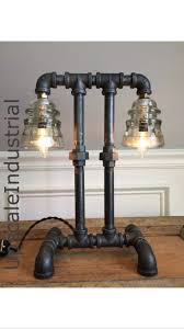 steampunk lamp industrial lighting pipe lighting pipe lamp glass insulator light