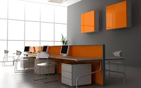 charming interior office design orange partition office desk including gray painting wall also wide glass window charming cool office design