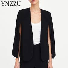 2019 <b>YNZZU</b> Elegant Black Poncho Office Lady Cloak Open Front ...