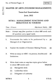 management functions and behaviour in tourism 2012 management functions and behaviour in tourism 2012 hospitality and tourism tourism management masters university exam indira gandhi national