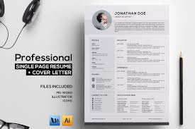 professional single page resume resume templates on creative market
