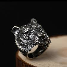 Gnzoe Jewelry- <b>Vintage 925 Sterling Silver</b> Tiger Head Ring for Men ...