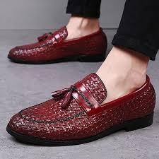 <b>2019</b> Tassel Plaid <b>Men</b> Loafers Weaving Comfortable <b>Leather</b> Shoes