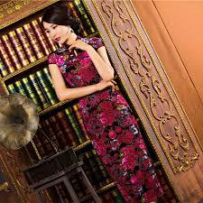 SexeMara <b>Vintage Elegant</b> Women <b>Cheongsam</b> Dress Velvet ...