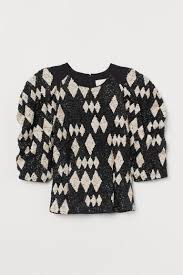 Short Sequined Top - Black/harlequin-patterned - Ladies   H&M US