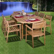 International Home Amazonia <b>9</b>-<b>Piece</b> Teak <b>Patio Dining</b> Set Sc ...