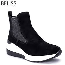 <b>BELISS</b> 2018 <b>spring autumn</b> ankle boots female cow suede leather ...
