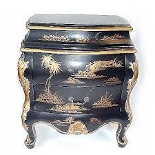 <b>Oriental</b> Bombe <b>Cabinet</b> Hand Painted <b>Antique</b> Black and <b>Gold</b> ...
