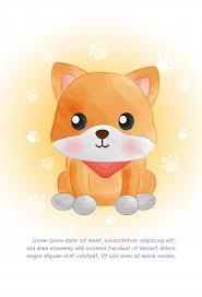 Premium Vector | Cute <b>shiba inu</b> dog card in water color <b>style</b>.