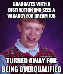 Bad Luck Brian Over Qualified | Career Advice Meme | Pinterest ... via Relatably.com