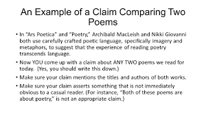 writing a comparecontrast essay about literature   ppt download an example of a claim comparing two poems in ars poetica and poetry