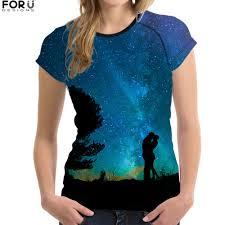 FORUDESIGNS Starry T shirt Women <b>Couple</b> t shirt <b>Starry Sky</b> ...