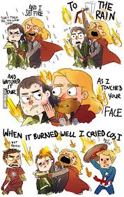 Thor hugging Loki and singing Set Fire to the Rain. - 9GAG via Relatably.com