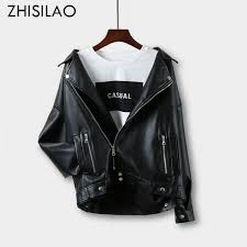 2019 ZHISILAO Autumn <b>Winter 2018 Zipper Faux</b> Leather Jacket ...