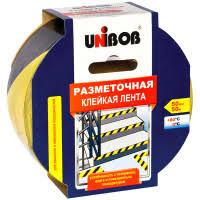 <b>Клейкая лента разметочная Unibob</b>, 50мм*50м, желто-черная ...