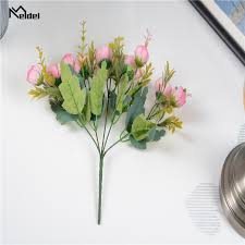 <b>5 Branches</b> Tea <b>Roses</b> Silk Artificial Flowers <b>Small Rose</b> Bridal ...