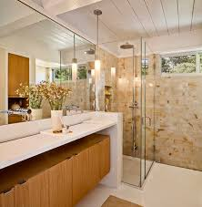 frameless shower enclosures bathroom midcentury with double sinks double vanity earth tones exposed beams frameless bathroom lights mid century