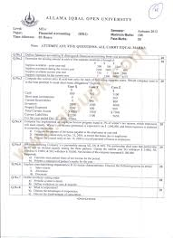 financial accounting mba code aiou old papers of autumn financial accounting code 8501