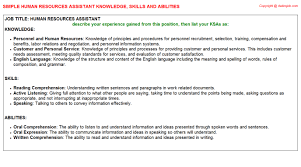 resources knowledge skills and abilities   human resources assistant
