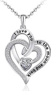 Distance Heart Necklace for Women 925 Sterling ... - Amazon.com