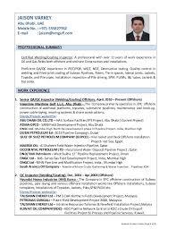resume of jaison varkey  qa qc inspector welding coating offshore oi…resume of jaison varkey page  of  jaison varkey abu dhabi  uae mobile no