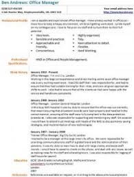 office manager cv example   learnist org