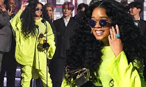 H.E.R. is unmissable in fluoro yellow at 2019 Grammy Awards ...