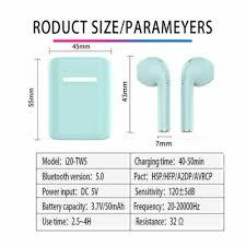 2019 <b>i20</b> air <b>TWS</b> Mini Wireless <b>Bluetooth 5.0</b> 3D Bass Stereo ...