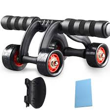 4 Rolls <b>Ab</b> Roller <b>Abdominal Muscle Trainer</b> Indoor Home <b>Training</b> ...