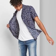<b>Men's Printed Short Sleeve</b> Button-down Shirt - Original Use ...