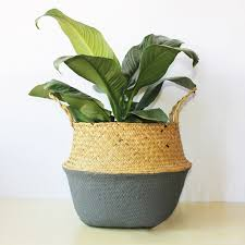 Handmade Bamboo <b>Flower</b> Pot Baskets <b>Rattan</b> Straw Patchwork ...