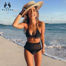 2019 <b>Sexy Halter Retro Mesh</b> Hollow Out String Biquini Bathing Suit ...